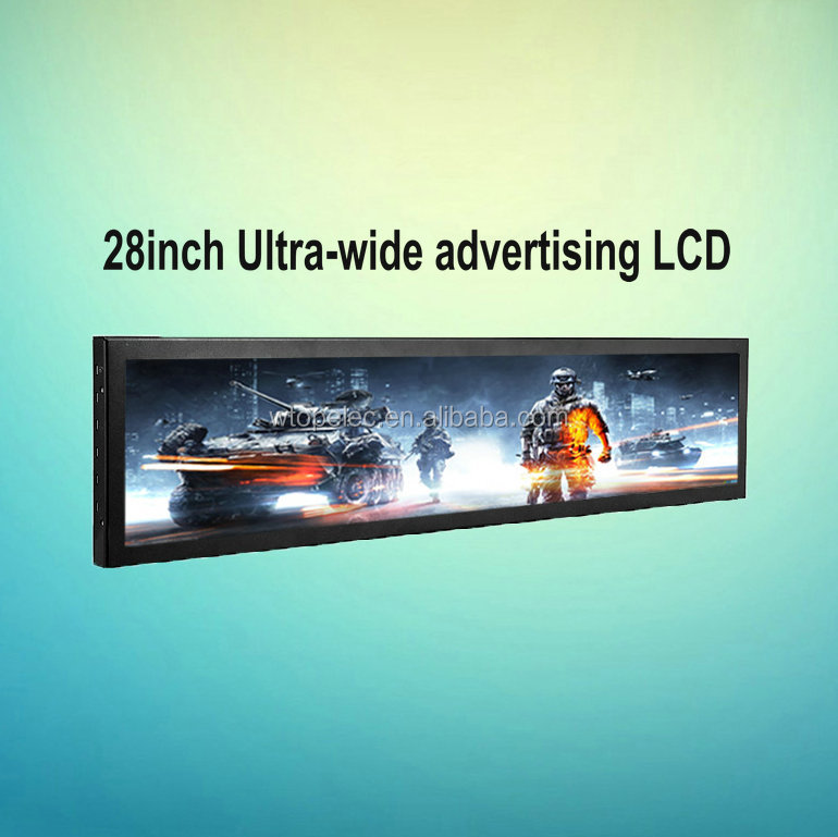 28 inch Ultra Wide stretched LCD advertising display monitor