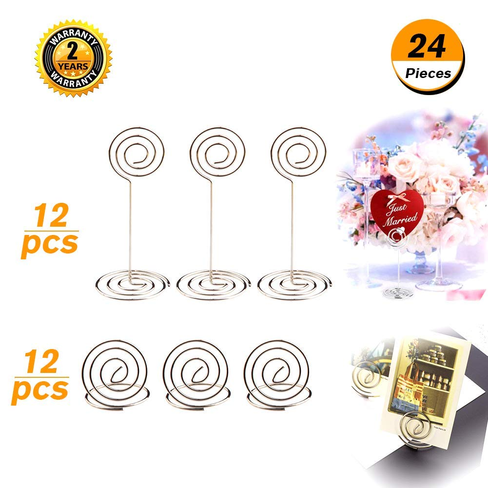 OIBTECH Table Number Holders – 24 Pack Sliver Table Card Photo Menu Name Holder for Wedding Party Office Paper Memo Menu Clips (12 Pcs Stand Table Holder and 12 Pcs Ring Table Holder)