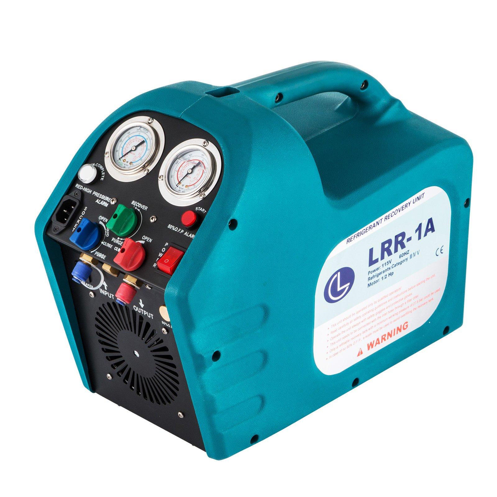 DreamJoy 1/2HP Refrigerant Recovery Machine Portable 110V AC Refrigerant Recycling Machine Automotive HVAC 558psi Refrigerant Recovery Unit Air Conditioning Repair Tool (110V)
