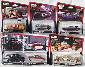 Disney Cars 1:55 Scale Diecast Star Wars Series 2, complete set of 8 cars (5 packages including two multi-pack) Mater as Darth Vader, Doc as Obi-Wan Kenobi, Luigi as C-3PO and 2 Pitties as Jawas, Ramone as Han Solo, Chick Hicks as Boba Fett, Red as Chewbacca