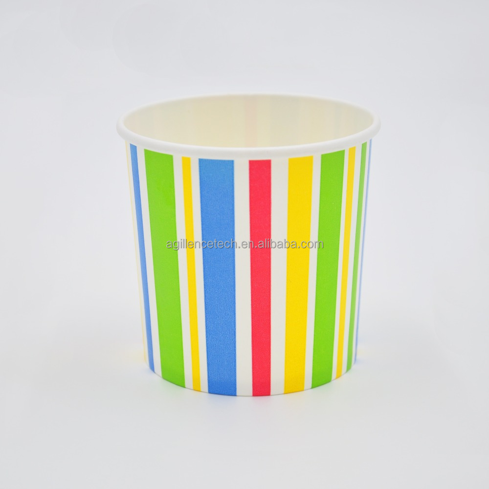 2015 Rainbow Color Striped 12oz Paper Ice Cream Cups/Tubs/Container/Bowls Wholesale