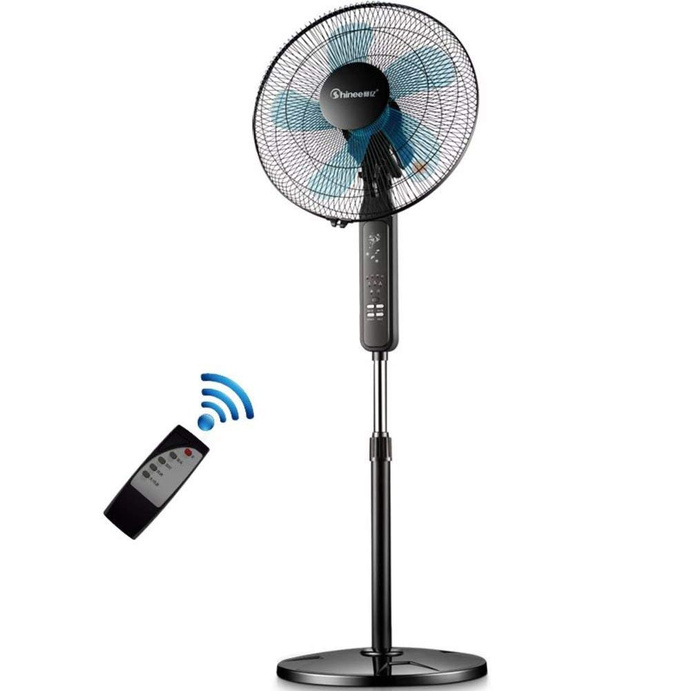Cooler 360 oscillating Floor standing fan,Adjustable height 3 speed Pedestal fan,Electric fan Fs40-6a Floor fan Five-leaf Remote control Timing fan-Black 41x125cm(16x49inch)