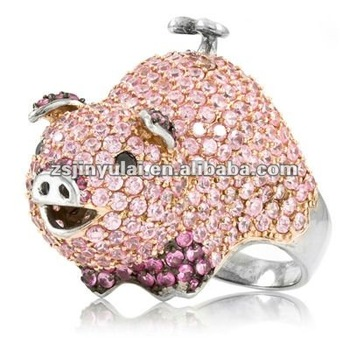 New Design Jewellry Of Cz Diamond Pink Pig Cocktail Ring - Buy ...