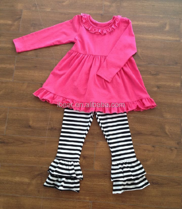 2016New Fashion Soft Cotton Spring Outfit For Girls Infants 2 Pcs Clothing Set Kids Outfit With Ruffle Chevron Baby Girls Outfit
