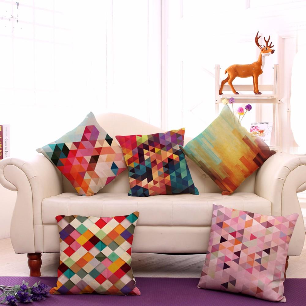 coussins décoratifs couvrent cas abstrait 3d géométrie coton lin