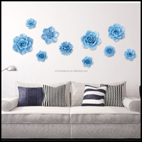 Brand New Ceramic Camellia Shape Wall Art Decor Ideas With Blue Color For Hotel Outdoor Furniture Classic Living Room Furniture