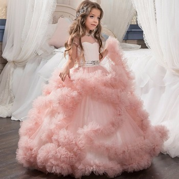 Boutique Ball Gowns For Little Girls Pink Dress Kids Wedding Party Ruffles Tulle Gowns Girls Children Backless Dresses
