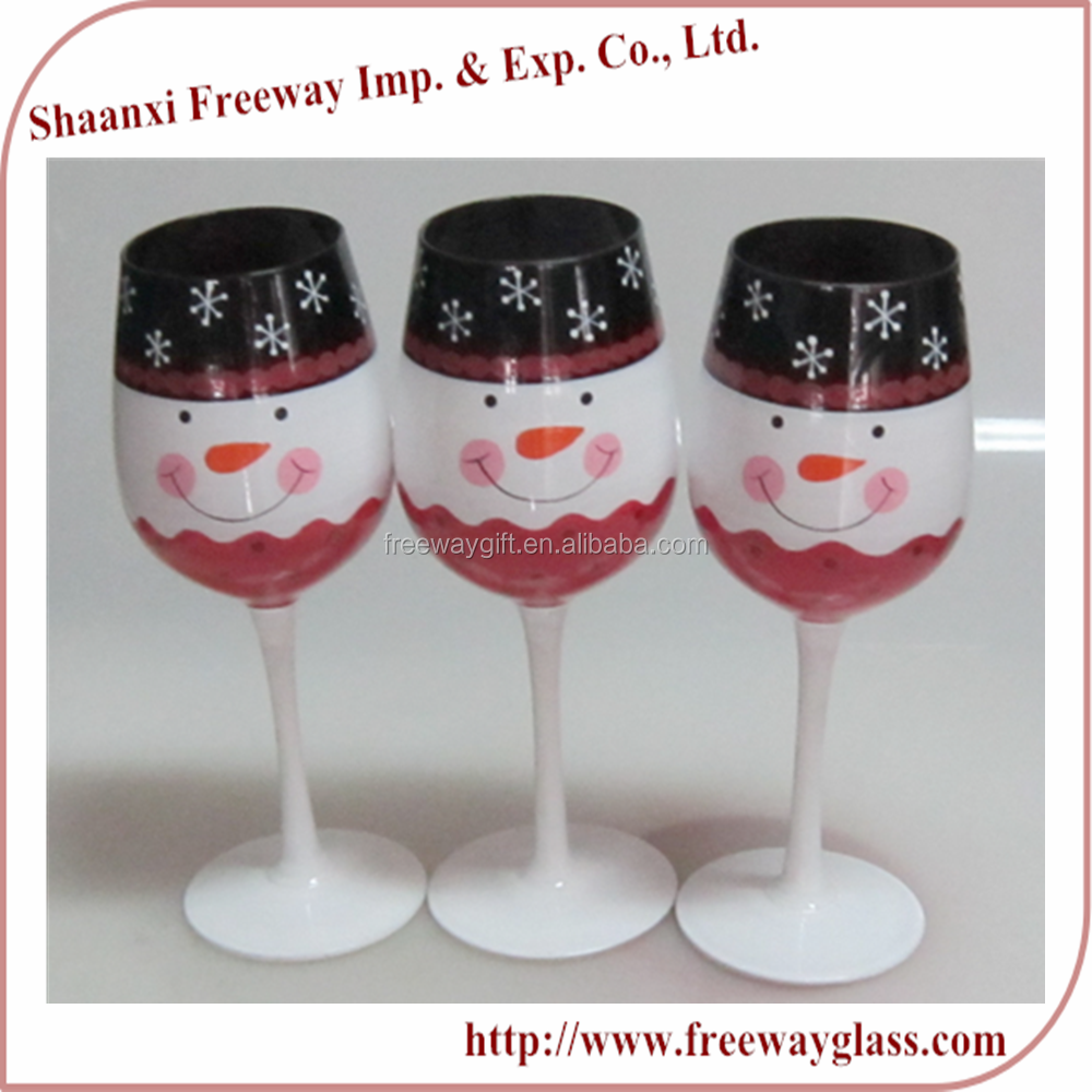 wholesale christmas painted colored goblet wine glass set in pvc pack