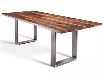 Nice Modern Designs Solid Wood Top With Simple Stainless Steel Dining Table Set  For Sale Part 31
