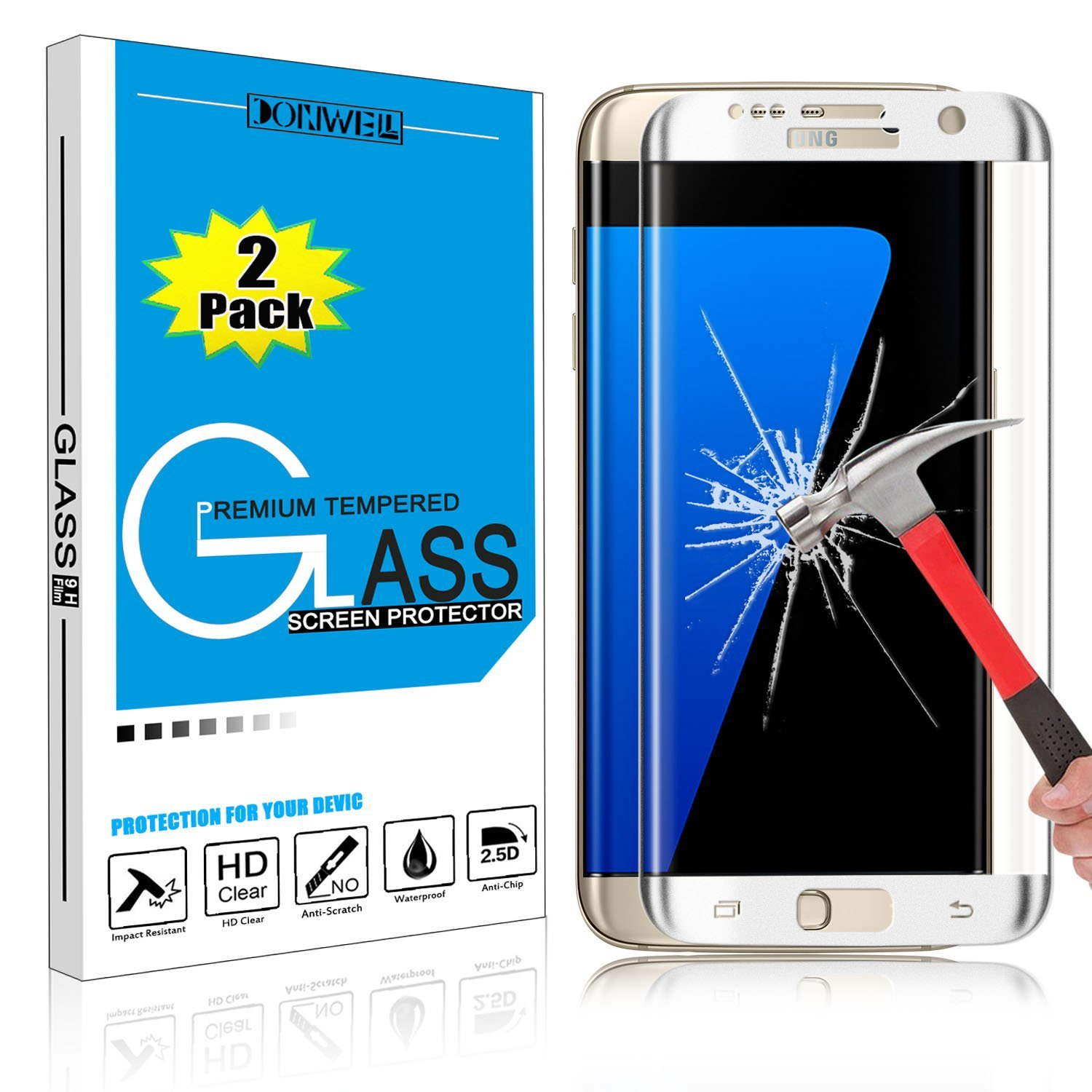 Samsung Galaxy S7 Screen Protector, DONWELL Full Screen Coverage Tempered Glass Screen Protector for Galaxy S7 / SM-G930 [2.5 D Curved] [Edge to Edge] [HD Clear] [Bubble Free] [2 PACK SILVER]