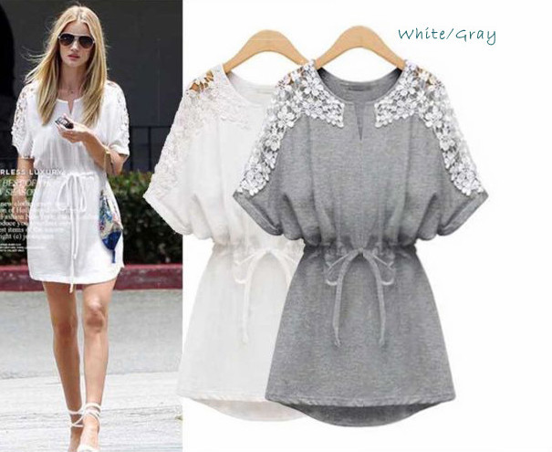 New Western Ladies Batwing Sleeve Dress Summer Fashion Elegant ...