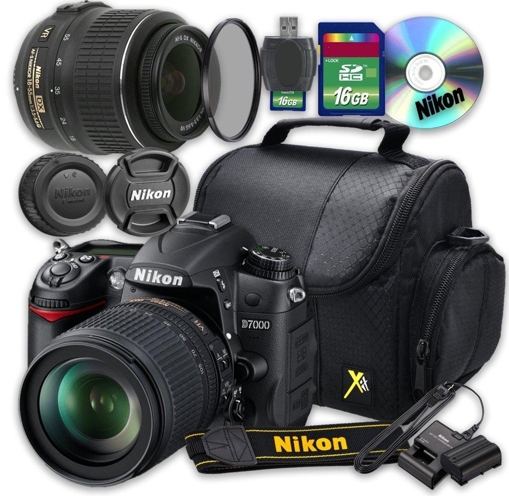 Nikon D7000 DSLR Camera with 18-55mm Lens + 16GB Memory SD Card + Accessory Kit - International Version (No Warranty)