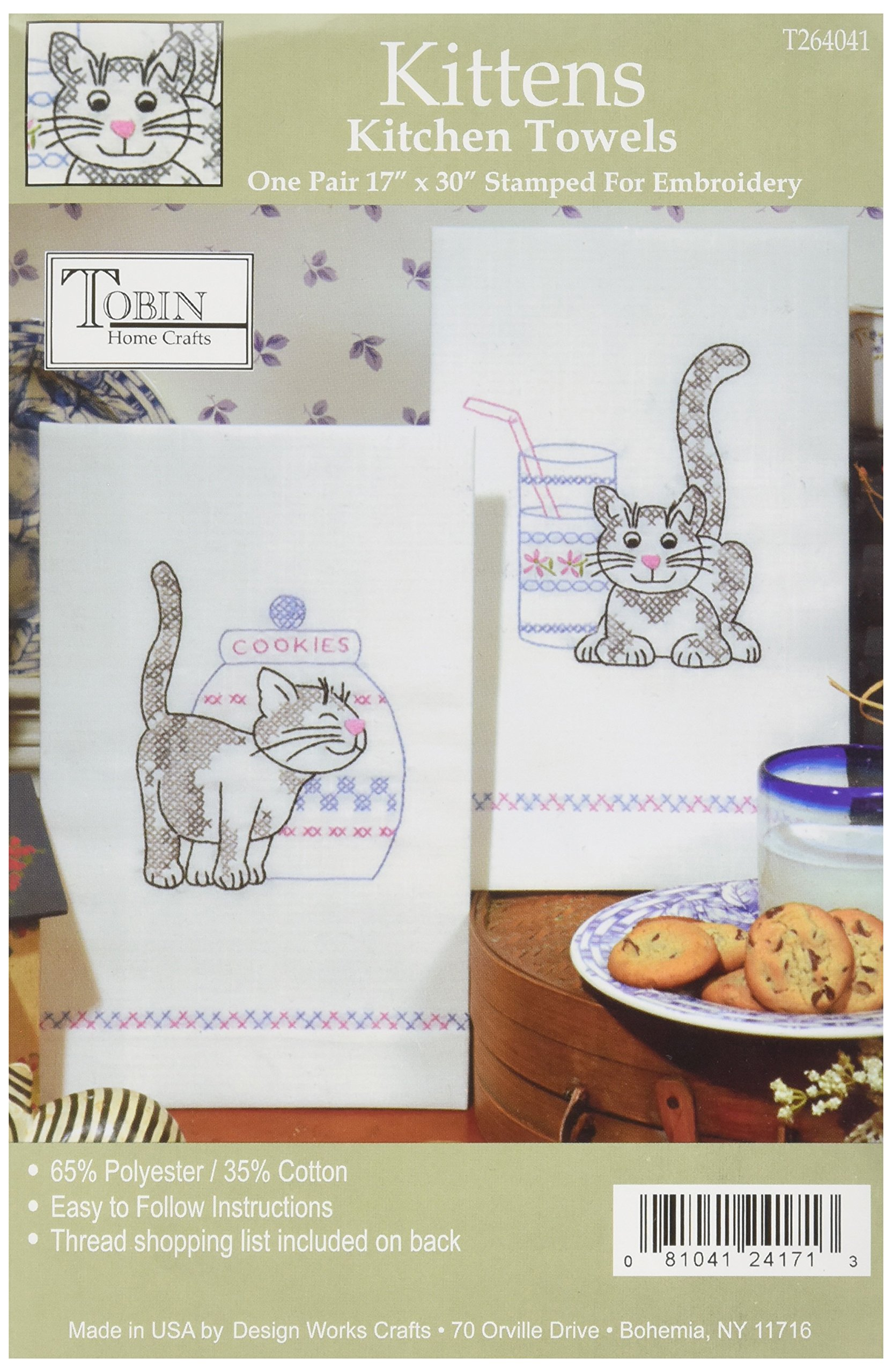 Design Works Crafts T264102 Kittens Towels 17 x 30 Stamped Kitchen Towels for Embroidery Set of 2