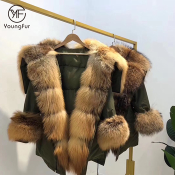 Wholesale New Winter Fur Jacket red fox fur collar fur coat Parka for Fashion Girls