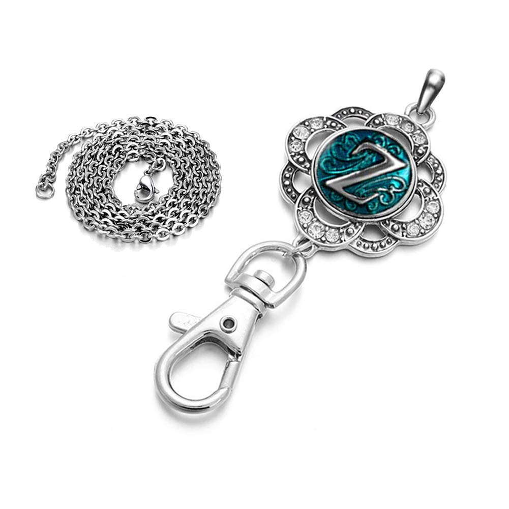 DH Love Alphabet A-Z Snap Button Charms ID Card Badge Holder Office Lanyards Keychain Jewelry for Women (Z)