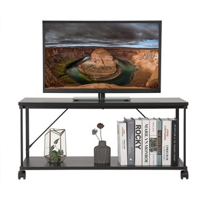 SONGMICS Mobile TV Cabinet, TV Stand, 2 Tier TV Entertainment Center with Shelf