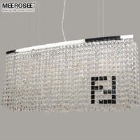MEEROSEE Rectangular Crystal Pendant Light Chandelier MD81749