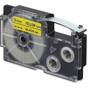"XR-9YW2S Casio EZ-Label Printer Tape Cartridges - 0.35"" Width x 26 ft Length - 1 Each - Rectangle - Black, Yellow"