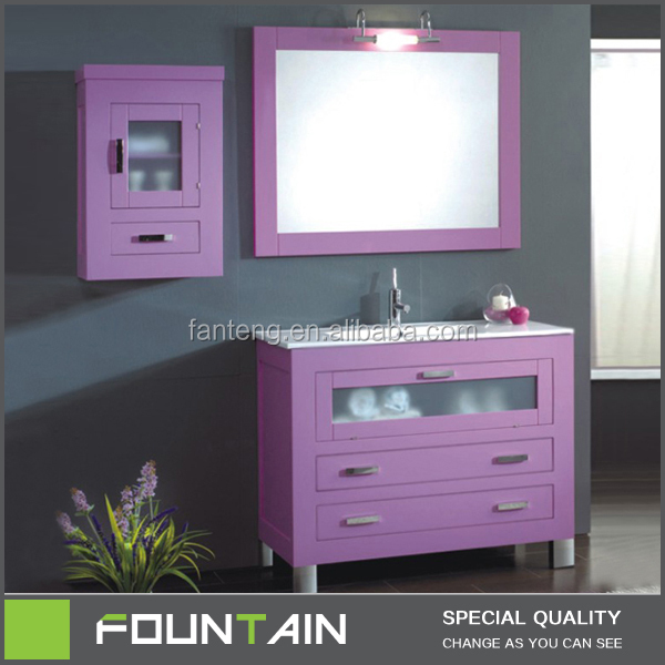 2014Hot Sale PVC Pink Bathroom Vanity for USA