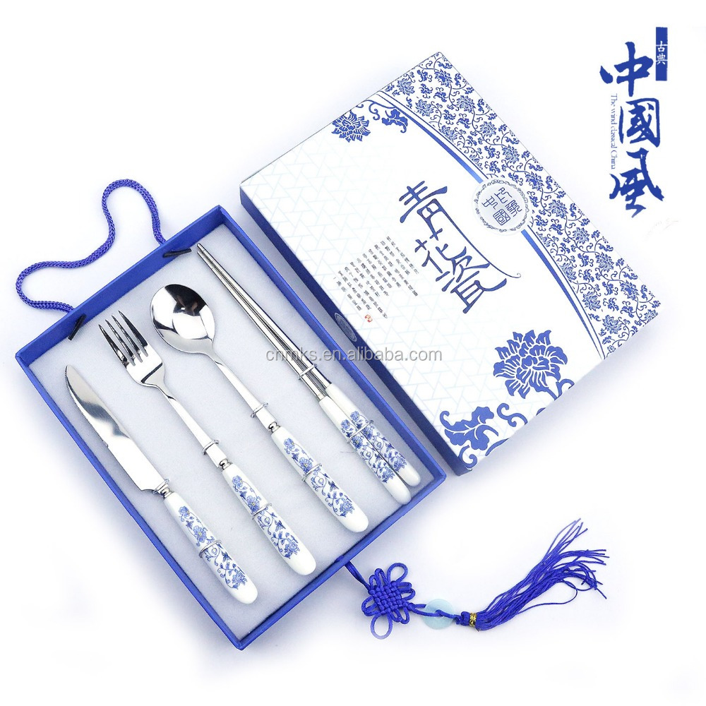Promotional Gift Box Packing 4 piece Stainless Steel Cutlery Set/Dinner Set flatware for hotel/home using/wedding