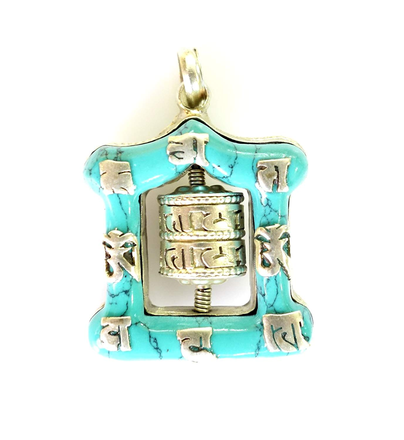 BUDDHIST BOHEMIAN AUTHENTIC TURQUOISE GEMSTONE HEALING PENDANT WITH MANTRAS HAND CRAFTED TRIBAL GYPSY PENDANT BY TIBETAN SILVER