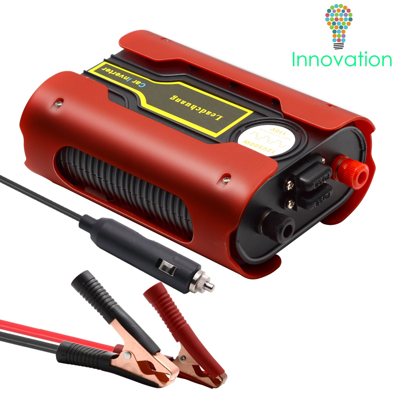 Car Power Inverter 500W, Auto Inverter DC to 110 Volts Power Inverter Car Charger, Leadchuang 12 Volt Inverter DC to AC Converter for Car with AC Outlet 4.8A Dual USB Charging Ports, Alligator Clips