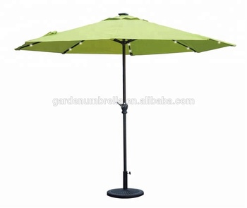 Solar Powered Led Lighted Patio Umbrella With Tilt Crank 9 Foot