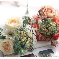 Artificial Silk Flower Bouquet Mixed Daisy Gerbera Flower with Rose, Beautiful Fake Flowers Wedding Bouquet Holders