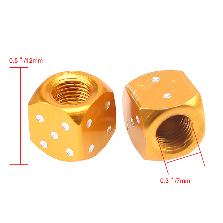 CNC dice Metal dice Bike Car Tyre Valve Covers for bike dust caps