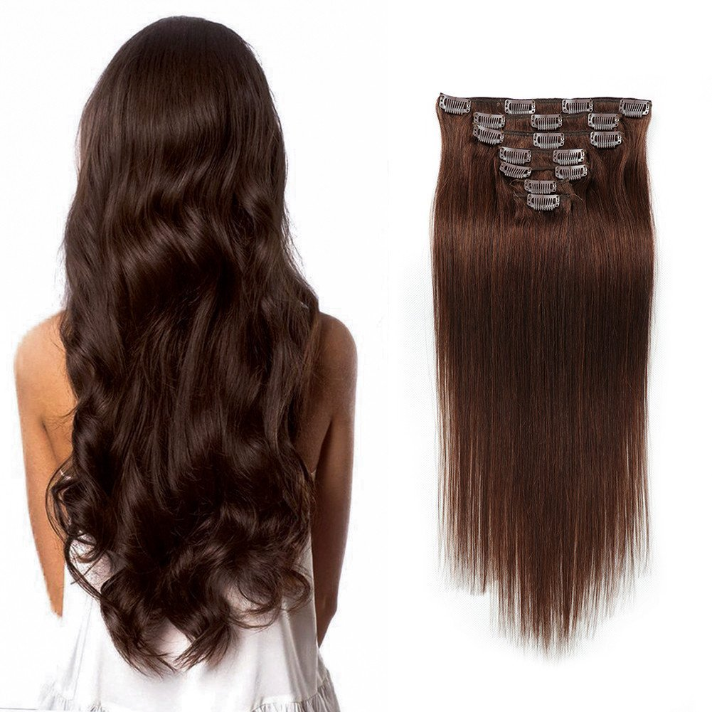 "Medium Brown Double Weft Clip in Human Hair Extensions Full Head 14""-20"" Grade Quality 7pcs 16clips Long Soft Silky Straight 100% Remy Human Hair Clip In (18''--70g #4)"