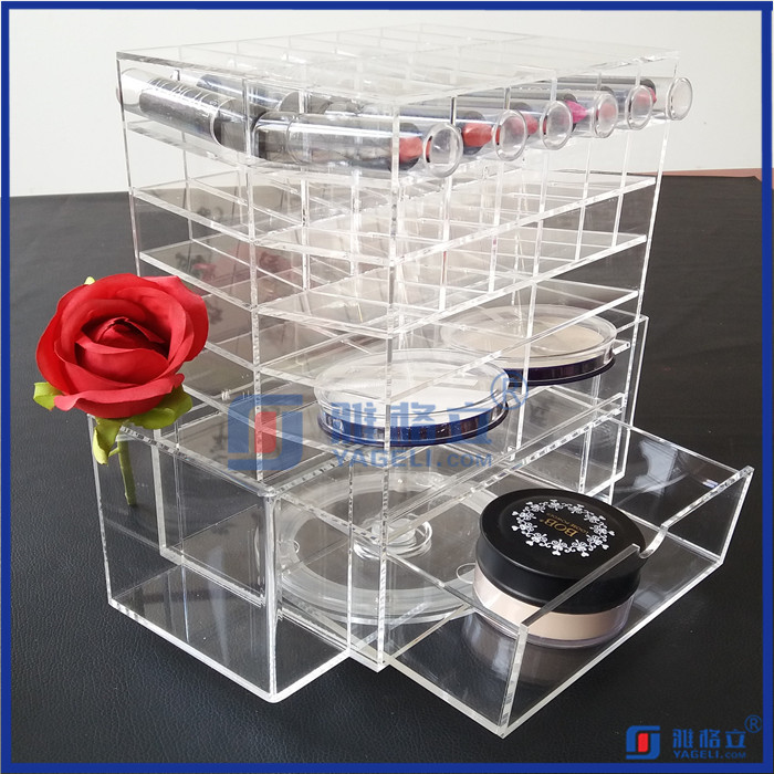 High Quality Acrylic Makeup Organizer Brushes Holder, Spinning Acrylic Lipstick Tower For Mac cosmetic pressed powder