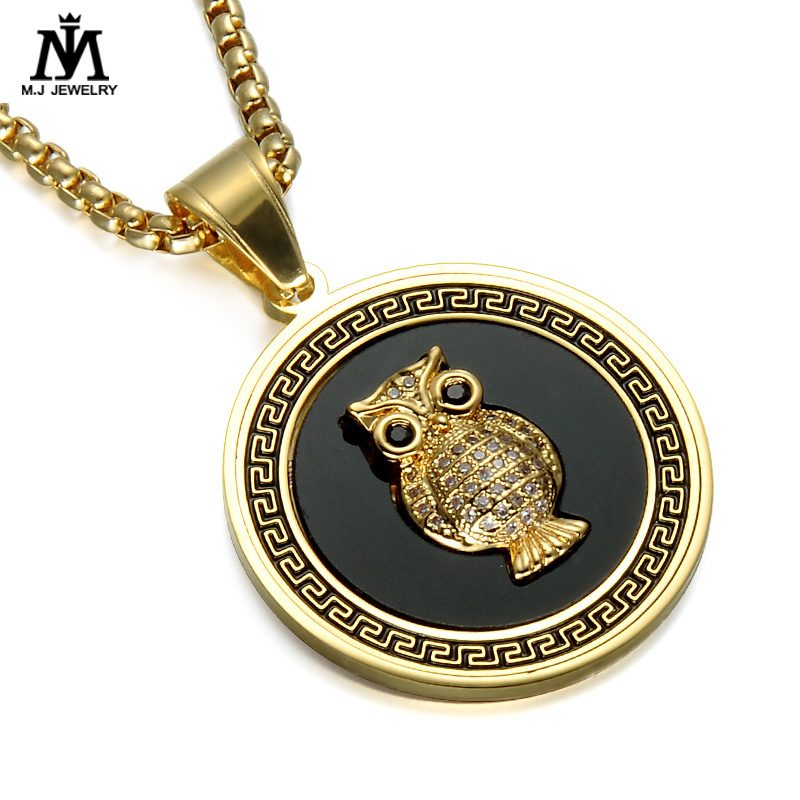 Stylish Gallant Owl Badge Charm Coin Pendants Necklace Jewelry For Women Men