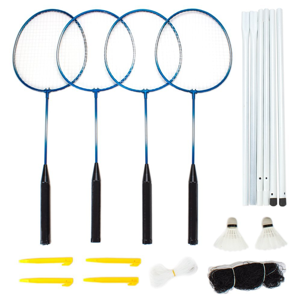 Complete 4-Player Badminton Set - Includes 4 Racquets, 2 Shuttlecocks, Net, Case, Poles and Stakes!