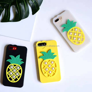 2017 DIY Pearl Pineapple Phone Cases For iPhone 6 6S 7 7 Plus Soft Acrylic TPU Mobile Phone Back Cover Capa Coque