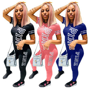 Women 3 Colors Letter Short Sleeve Long Pants Two Piece Sport Jumpsuit