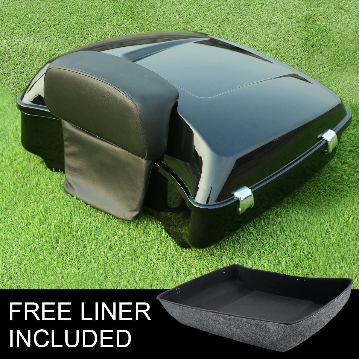 XMT-MOTO Chopped Tour Pak Trunk Backrest Pad For For Harley Davidson Touring 2014 2015 2016 2017 2018