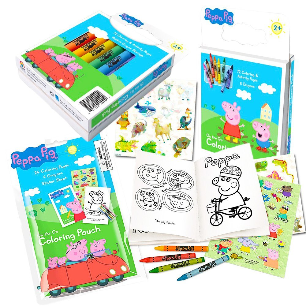 Peppa Pig Coloring Book Set with Peppa Pig Stickers and Crayons (Includes Bonus Pack of Zoo Animal Stickers)