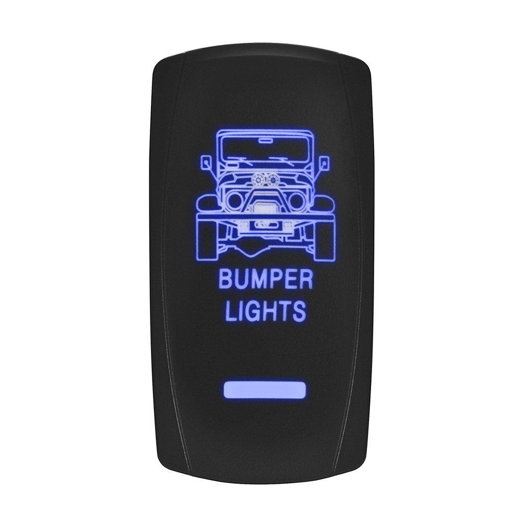 LED Backlit Rocker Switch,Eyourlife Laser Bumper Light Bar Rocker Switch ON-OFF LED Light 20A 12V, 5pin, Blue