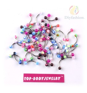 Colorful Stainless Steel Ball Barbell Curved Eyebrow Rings Bars Tragus Piercing