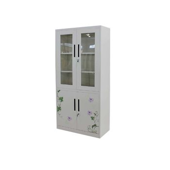 Luoyang shuangbin wrought iron middle two drawers storage cabinet cupboard with glass door