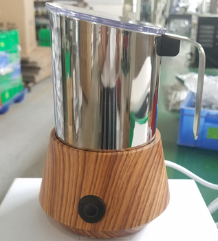 modern design wood grain electric milk frother with Hot or Cold Milk