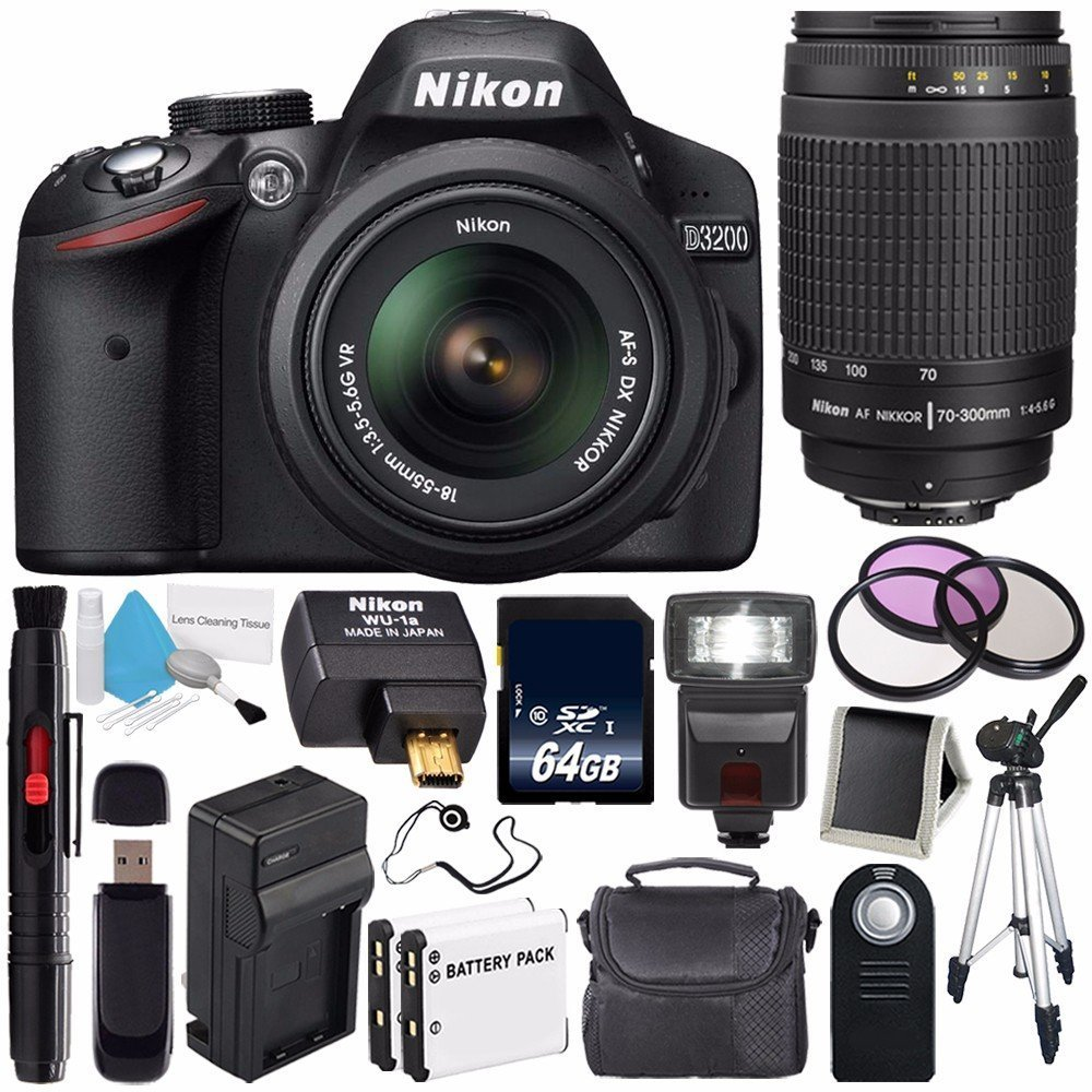 Nikon D3200 Digital Camera w/ 18-55 VR II Lens (International Model No Warranty) + Nikon 70-300mm f/4.5-5.6G ED IF AF-S Nikkor Zoom Lens + Nikon WU-1a Wireless Mobile Adapter Bundle 56