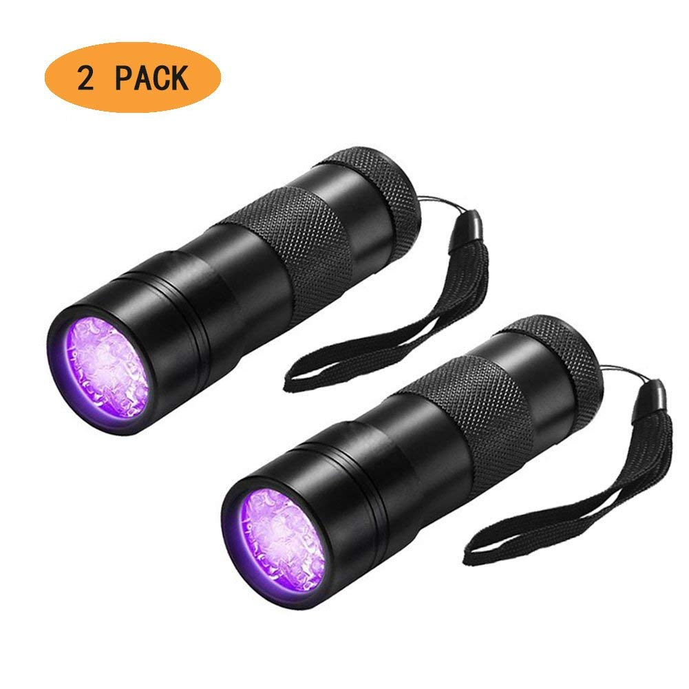 395 nM Handheld Blacklight Detector for Spot Carpet Pet Dog Urine Detection Light 2 Pack ILDOCK Black Light Flashlight Stains and Bed Bug Scorpion UV flashlight Zoomable Ultraviolet Flashlight