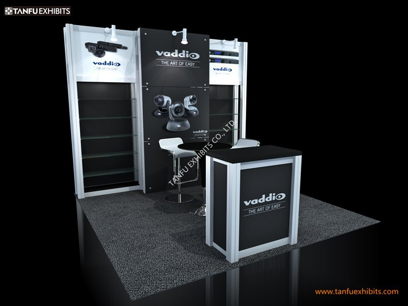Small Exhibition Stand Sizes : Industrial exhibition stall booth with shelf or