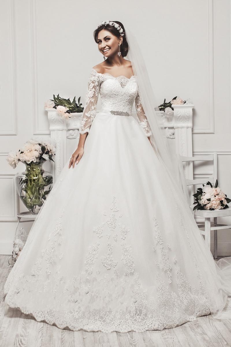 Elegant Long Sleeve Appliques Lace Ball Gown Princess Wedding Dresses ...