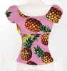 Woman Fruit Print Lemon Pineapple Off Shoulder Ruffled Sexy Low Back Peasant Blouse