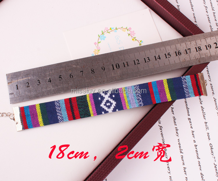 Custom Embroidered Fabric Bracelets With Metal Closure Handmade Embroidery