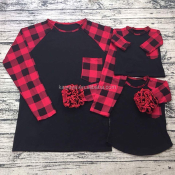 Christmas Lattice Printing Raglan Sleeve Parent Child Clothing Ice Trimmed Frilly Boutique Garments