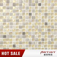 White travertine + glass mosaic tile for wall and floor decoration SJGD-325