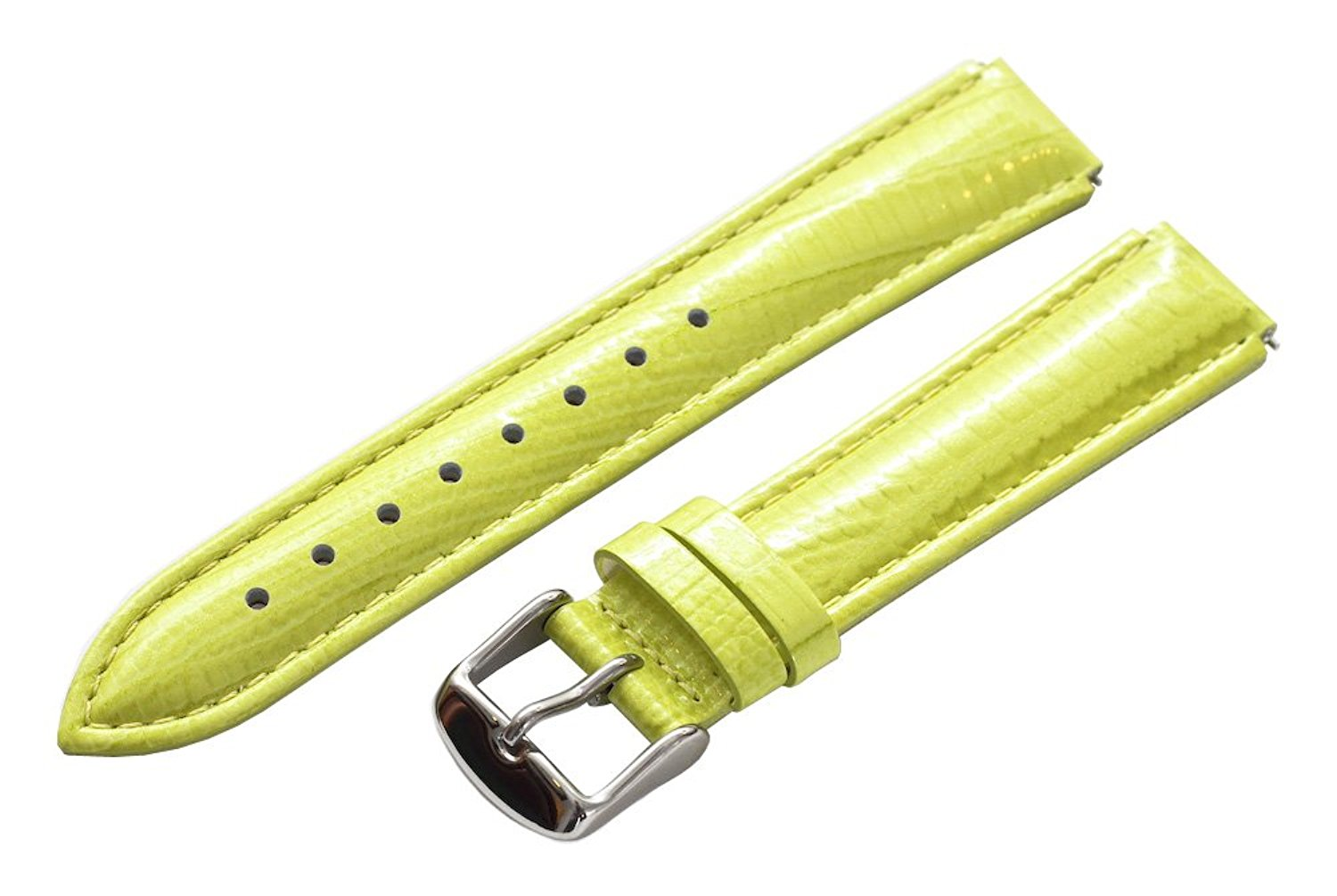 Clockwork Synergy® - 20mm x 18mm - Lime Green Lizard Grain Leather Watch Band fits Philip stein Large
